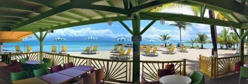 Hôtel Canella Beach – Salle de petit-déjeuner et snack, face à la mer.